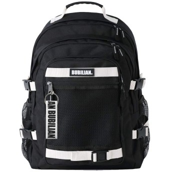 Bubilian 3D Unisex Buckle Up Laptop Sleeve Backpack with Free Key Chain (Black & White + White Key Chain)