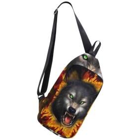 (マイステージ) MYSTAGE クロスボディバック ワンショルダーバッグ チェストパック キャンプバッグ ショルダーバッグ ボディバッグ オオカミ 狼 ウルフ メンズ 斜め掛け 肩掛け バッグ 人気 オシャレ ユニセックス カジュアル