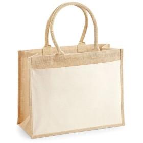 (ウエストフォード・ミル) Westford Mill ポケット ジュート トートバッグ ショッパー (ワンサイズ) (ナチュラル)