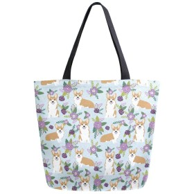 トートバッグ コーギーと紫色の花 キャンバスバッグ レディース 大容量 2way 帆布 サブバッグ 多機能バッグ