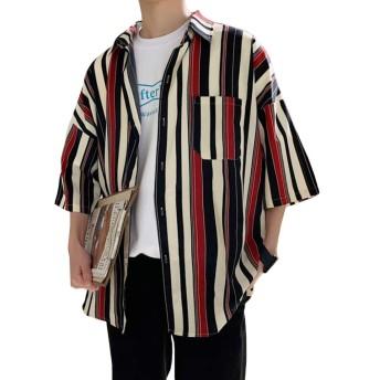 Veravant(ベラバント)メンズ 半袖シャツ ストライプ リゾート ゆったり 大きいサイズ スタイリッシュ ワイシャツ 五分袖 開襟シャツ カジュアル (レッド, XXL)