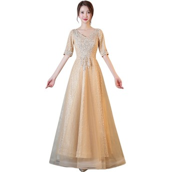プリンセス パーティードレス sweet 発表会 演奏会結婚式ブライズメイドドレス ロングドレス 優雅ウエディングドレス (ゴールド, XL)