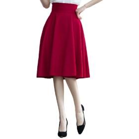 【ACE FACTORY】レディース フレアスカート ひざ丈スカート 幅広プリーツ サイズ豊富 エレガント エコバック付き(ワインレッド XSサイズ)