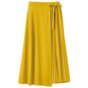 【レディース】 プリーツ使いラップスカート - セシール ■カラー:マスタード ■サイズ:LL,L,3L,S,M