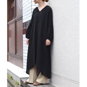 ダブルクローゼット 後ろレースアップボリュームシャツワンピース レディース ブラック FREE 【w closet】