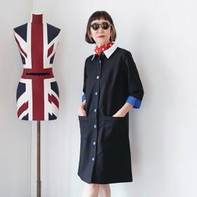 エムジェイアール バイマチコ ジント ロンドンシャツカラー付け襟付配色アクセントワンピース