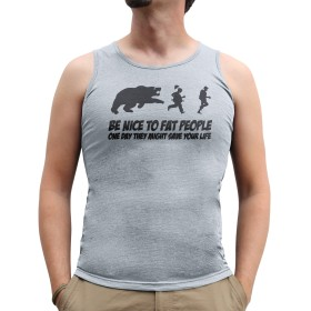 Nutees Mens Be Nice To Fat People Bear Hunting Tank Top Vest Sports Grey Large