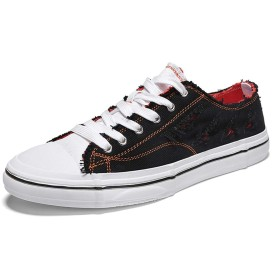 [Jusheng-shoes] メンズシューズ カジュアルプリムソール男性のための屋外ウォーキングロートップ布靴ひもフラットキャンバスシューズ滑り止めアウトソールシューズ カジュアルシューズ (Color : ブラック, サイズ : 24.5 CM)