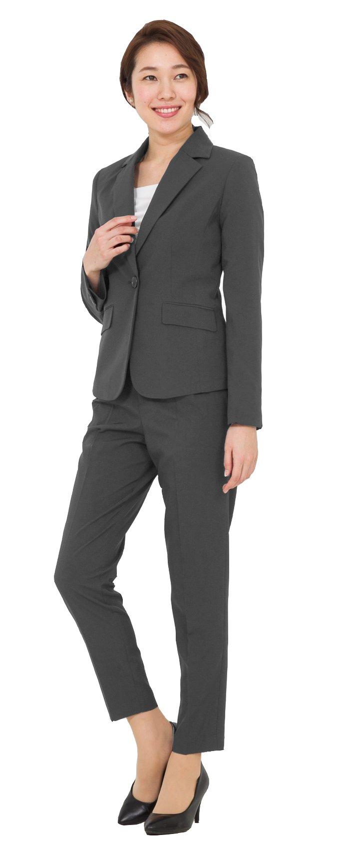 2点セット テーパードパンツ ストレッチ ウエストゴム パンツスーツ AddRouge 【j5012】 洗える (アッドルージュ) レディース スーツ