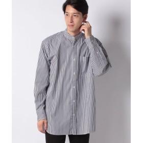 【55%OFF】 コエ ロングストライプ&チェックバンドシャツ メンズ ホワイト M 【koe】 【タイムセール開催中】