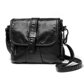 NIGEDU 女性のショルダーバッグPUレザーベルトバックルフラップショルダーバッグ (ブラック)
