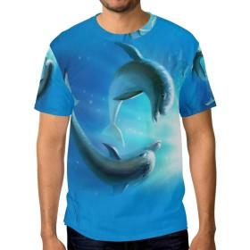 海の中 イルカ メンズ Tシャツ 半袖tシャツ おおきいサイズ 丸首 薄手 夏服 スポーツ カップル セット 吸汗速乾 ゆったり Tシャツ 男女兼用