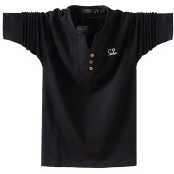 ポロシャツ長袖メンズ おしゃれゴルフウェア スポーツウェア稀少 秋冬 (ブラック, XL)