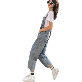 YUNHENサロペット デニム レディース ゆったり ロングパンツ オーバーオール 韓国ファッション オールインワン ジーンズ(6ライトブルー)