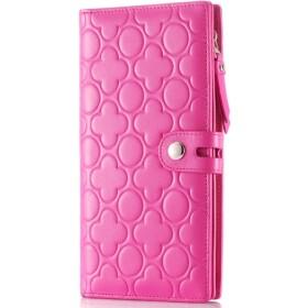 長財布 レディース財布 レザーウォレット クラッチバッグ ピーチフラワーウォレット カジュアル エンボスウォレット 大容量 カード携帯電話 収納できる (Color : Pink purple, Size : S)