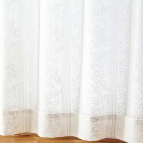 ベルーナインテリア 100サイズ防音・UVカット・見えにくいレースカーテン ストライプ 白/ホワイト 約幅100×丈108cm