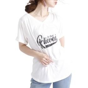 [マルイ] 大きいサイズ レディース トップス カットソー 半袖 Tシャツ ロゴ プリント ロールアップ/ゴールドジャパン(大きいサイズ)(GOLDJAPAN)