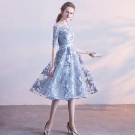 【送料無料】立体感のあるデザインが魅力のモチーフワンピース パーティードレス ドレス ワンピース 結婚式 シースルー パーティドレス