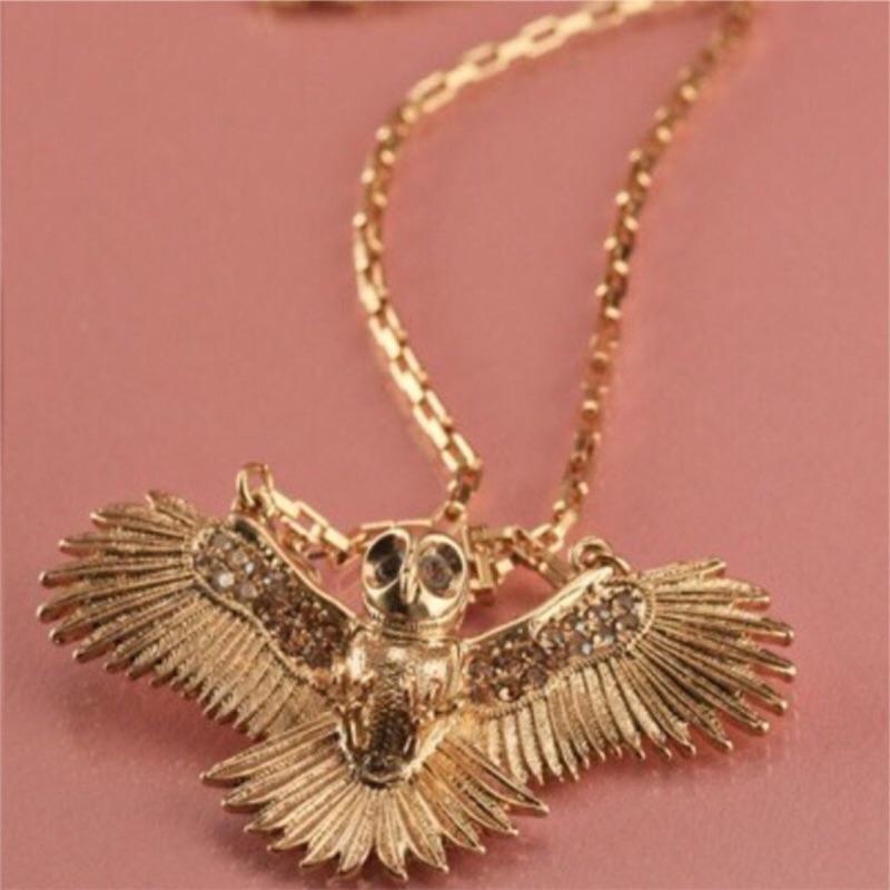 Wildfox Couture 金色貓頭鷹項鍊 白水晶翅膀 萊茵石眼睛 好萊塢最愛 特價