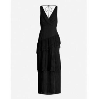 トップショップ TOPSHOP レディース パーティードレス ワンピース・ドレス Tiered pleated wrapover crepe midi dress Black