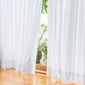 ベルーナインテリア 一年中お役立ちエコレースカーテン「エコファイン」 無地調 白/ホワイト 約幅100×丈108cm