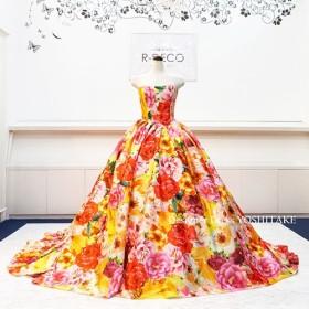 ウエディングドレス(6本骨パニエ) 大きなオレンジ花柄 ブライダル披露宴/お色直し
