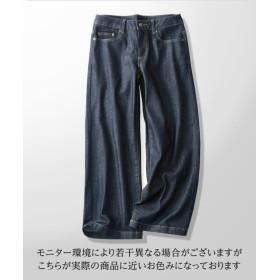 デニム9分丈ワイドパンツ(選べる2レングス) (レディースパンツ),pants