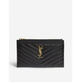イヴ サンローラン SAINT LAURENT レディース ポーチ Monogram quilted leather pouch Black