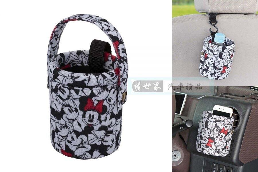 權世界@汽車用品 日本NAPOLEX Disney 米妮 冷氣出風口夾式/吊掛式兩用 手機袋 掛袋 置物袋 WN-49