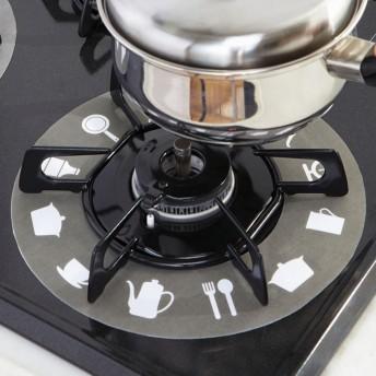ベルーナインテリア ガスコンロ汚れ防止カバー キッチン柄 ブラック/ホワイト 2枚組