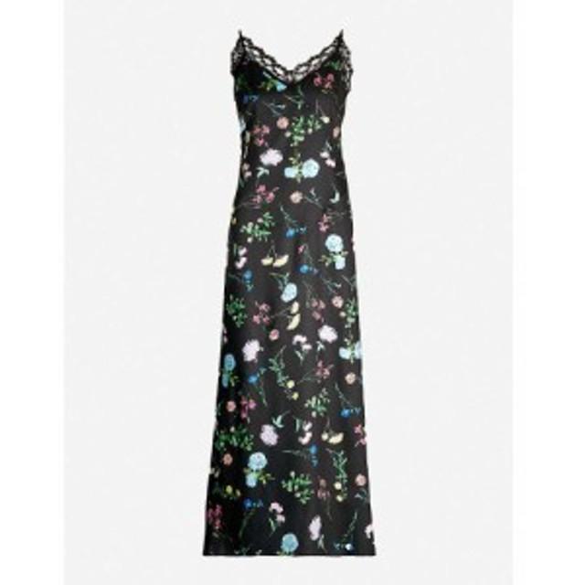 ペーパーロンドン PAPER LONDON レディース ワンピース ワンピース・ドレス Tuberose lace-trimmed floral-print satin maxi dress Flora