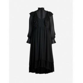 クロエ SEE BY CHLOE レディース ワンピース ワンピース・ドレス High-neck ruffled crepe dress Black
