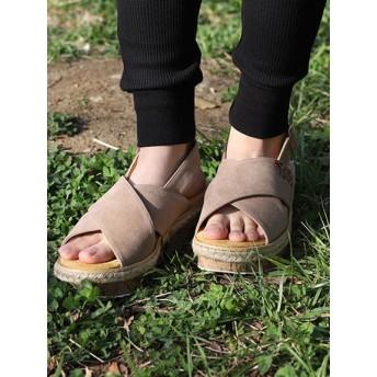 【大きいサイズレディース】【24.5cm】クロスストラップウェッジサンダル シューズ(靴) サンダル