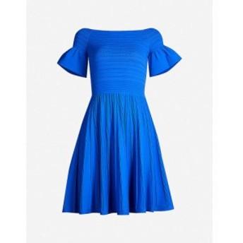 テッドベーカー TED BAKER レディース ワンピース ワンピース・ドレス Criptum Bardot stretch-knit skater dress Blue