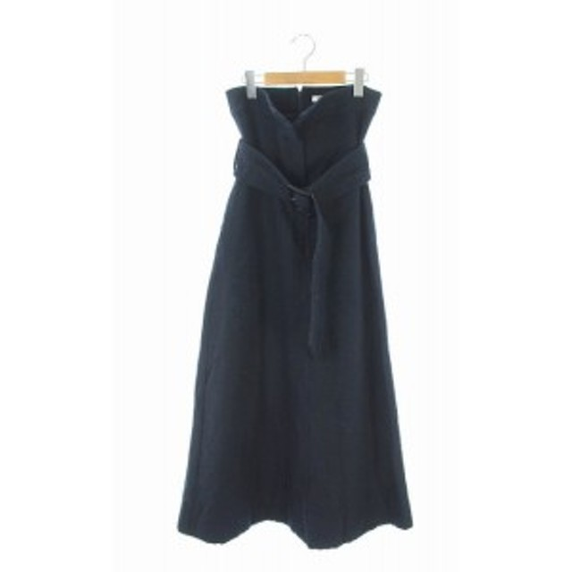 【中古】フレイアイディー FRAY I.D 17AW スカート 台形 Aライン ベルト付 ロング 0 紺 /KN ■OS レディース