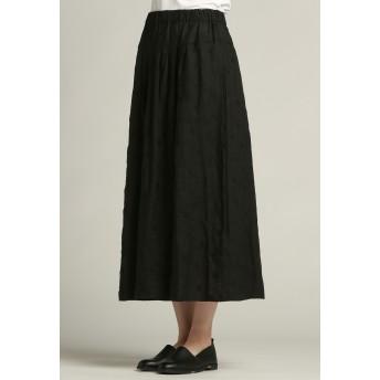 Pao de lo 【雑誌掲載】【WEBサイズ別注】リネンドット刺繍スカート その他 スカート,ブラック