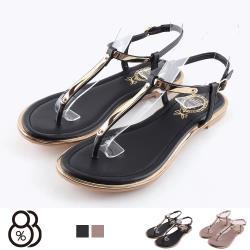 【88%】涼拖鞋-MIT台灣製 皮質鞋面 金屬造型 低跟T字涼鞋 夾腳涼鞋