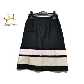 トゥービーシック スカート サイズ38 M レディース 美品 黒×ベージュ×ピンク スパンコール   スペシャル特価 20191024