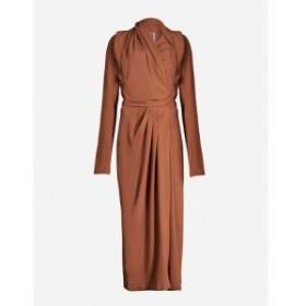 リック オウエンス RICK OWENS レディース ワンピース ワンピース・ドレス Draped woven midi dress Rust
