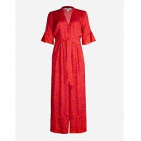 ホイッスルズ WHISTLES レディース オールインワン ワンピース・ドレス Henna-print tie front satin jumpsuit Multi-coloured
