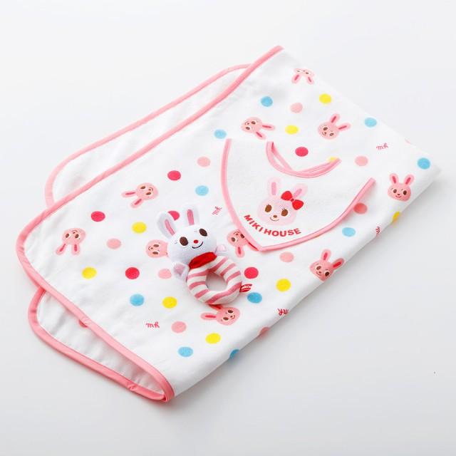 MIKI HOUSE ミキハウス ポータブルタオルケットギフトセット ブルー キッズ【出産のお祝いに】