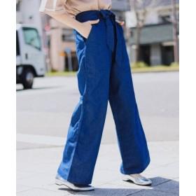 (Fashion Letter/ファッションレター)ウエストリボン付き ワイドパンツ/レディース インディゴデニム