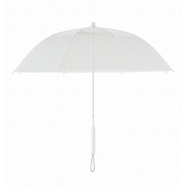 +TIC プラスチック 長傘 手開き カラー ライン 全5色 ホワイト オールプラスチック製 張り替え可