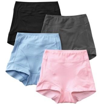 テンセルTM繊維。綿混ストレッチお腹脚口らくちん深ばきショーツ4枚組 スタンダードショーツ,Panties