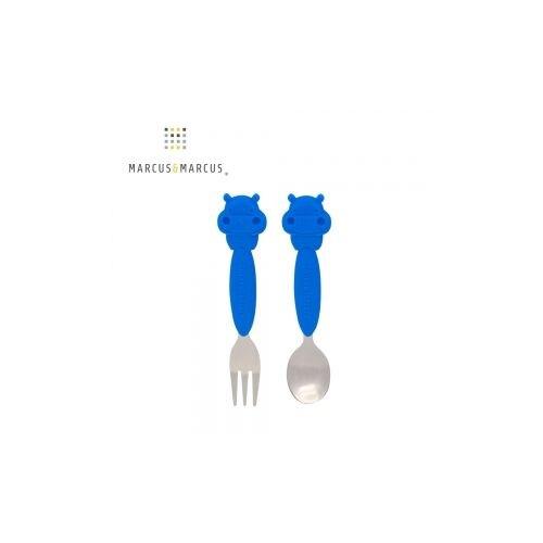 加拿大 MARCUS&MARCUS 動物樂園不鏽鋼叉匙餐具組-河馬★愛兒麗婦幼用品★