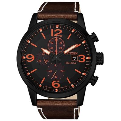 CITIZEN 星辰 光動能 三眼計時手錶-黑x紅/43mm  CA0617-11E