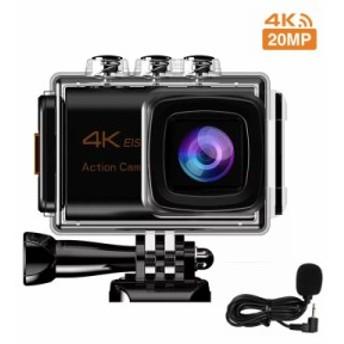 アクションカメラ 4K 2000万画素 手振れ補正 WiFi搭載 外部マイク対応 40M防水 170度調節可能な広角レンズ