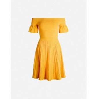 テッドベーカー TED BAKER レディース ワンピース ワンピース・ドレス Criptum Bardot stretch-knit skater dress Yellow