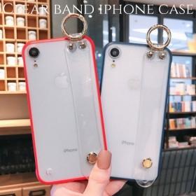 iphoneケース 透明 xs xr 8 plus 7 6s スマホ ケース 韓国 アイフォンケース カップル おしゃれ 大人可愛い かわいい シンプル ペア リング バンド スタンド