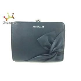 ジルスチュアート JILL STUART Wホック財布 美品 黒 リボン/がま口 レザー 新着 20190717